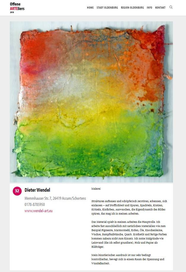 Offene Ateliers 2018 Oldenburg Dieter Wendel